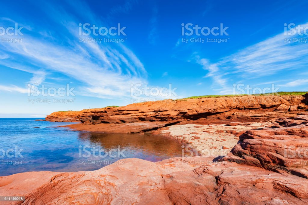 Landscape with Cove in Prince Edward Island Canada stock photo
