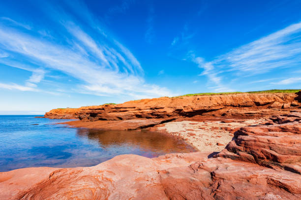 landscape with cove in prince edward island canada - prince edward island stock photos and pictures