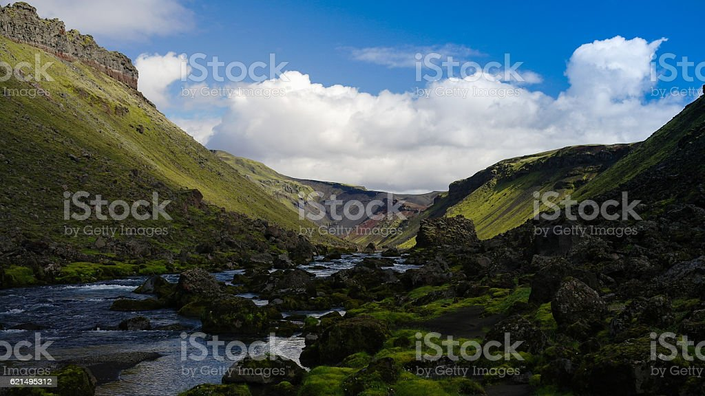 Landscape with Eldgja canyon and spring, south Iceland photo libre de droits