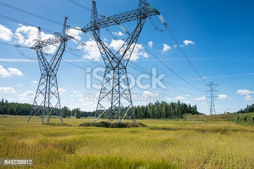 istock Landscape with electric lines at bright summer day 845239912