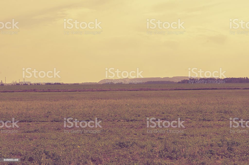 Landscape with far away mountains and salt plants in Soligorsk in the Republic of Belarus. stock photo