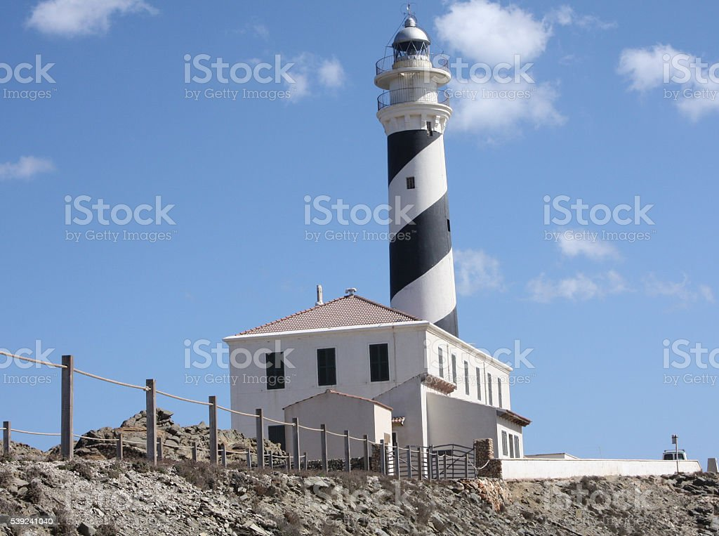 Landscape with Favaritx Lighthouse in Menorca royalty-free stock photo