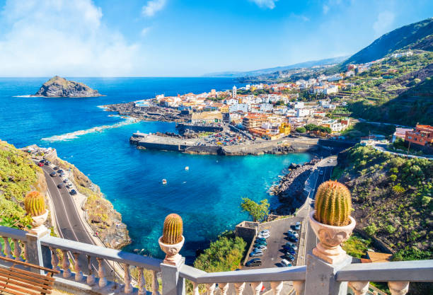 Landscape with Garachico Landscape with Garachico town of Tenerife, Canary Islands, Spain spain stock pictures, royalty-free photos & images