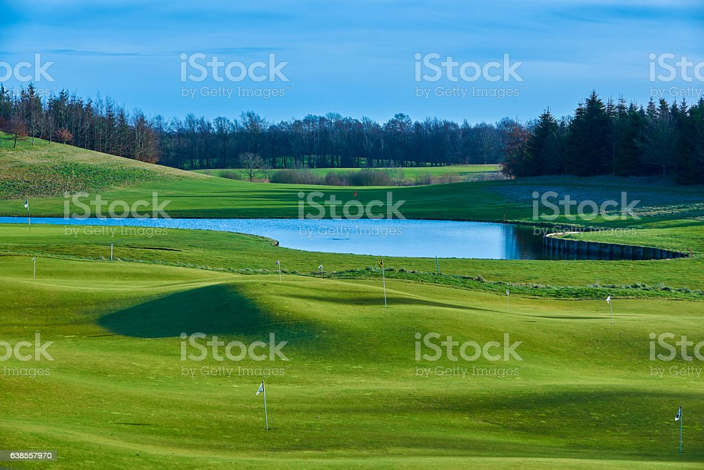 Landscape with golf course, Denmark stock photo