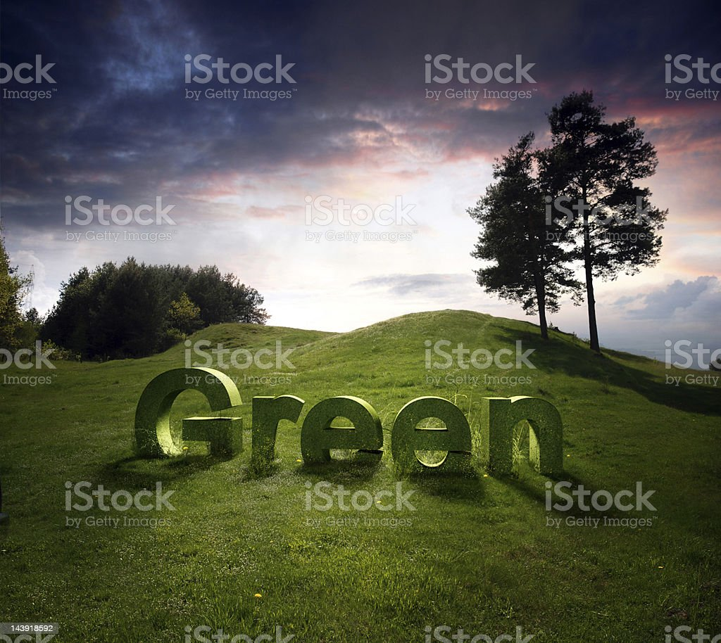 Landscape with green letters royalty-free stock photo