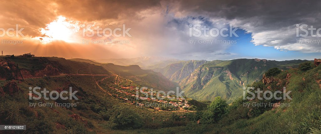 landscape with green mountains stock photo