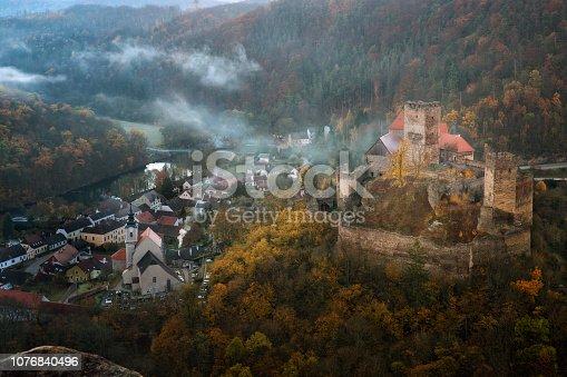 istock Landscape with Hardegg Castle in Lower Austria 1076840496