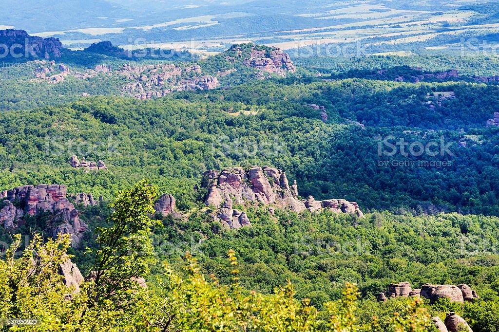 Landscape with high cliff rocks, Belogradchik, Bulgaria stock photo
