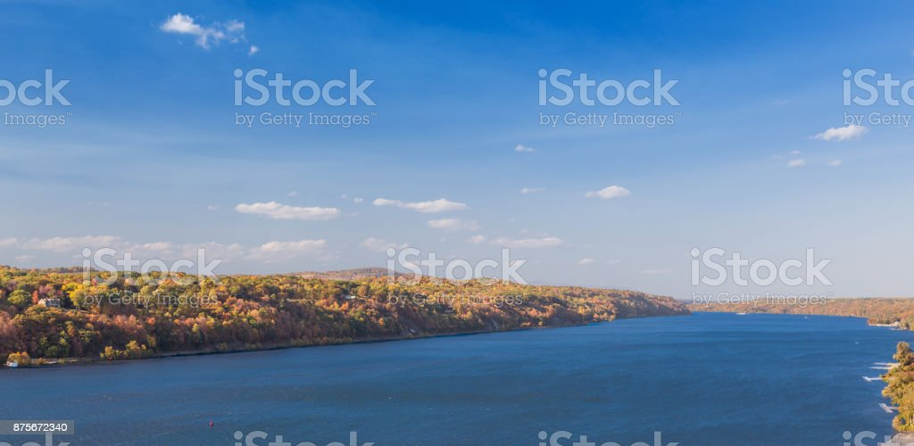 Landscape with Hudson River, Trees in Autumn Colors (Foliage), Catskill Mountains and Blue Sky, Poughkeepsie, Hudson Valley, New York. stock photo