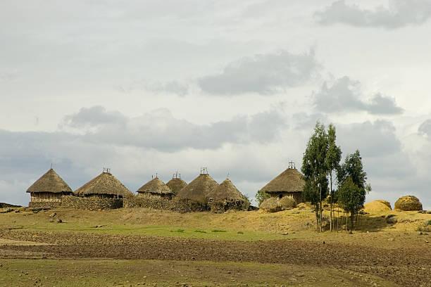 Landscape with huts in Ethiopia foto