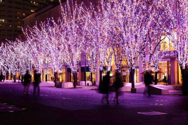 landschaft mit beleuchtung - weihnachten japan stock-fotos und bilder