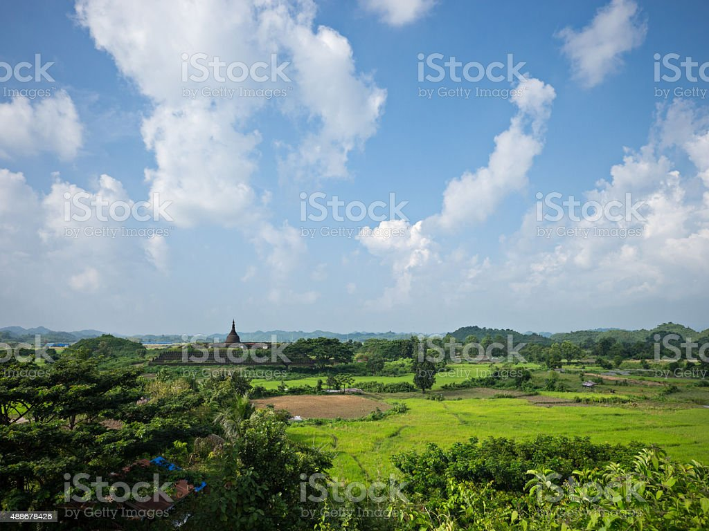 Landscape with Koe-thaung Temple in Myanmar stock photo