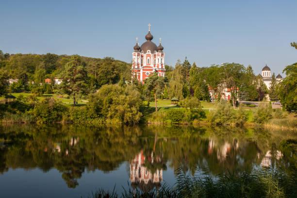 landscape with lake around kurki monastery, moldova. - moldova stock pictures, royalty-free photos & images