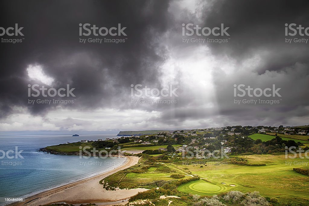 Landscape with light beam onto golf course stock photo