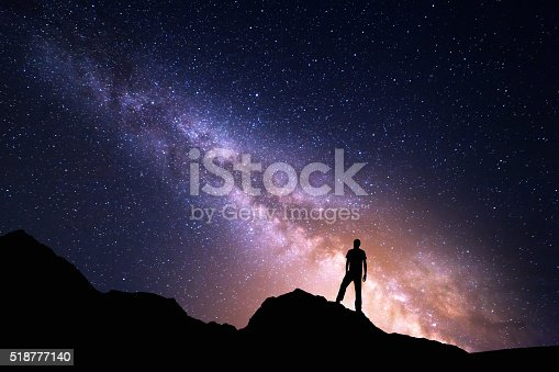 istock Landscape with Milky Way and silhouette of a happy man 518777140