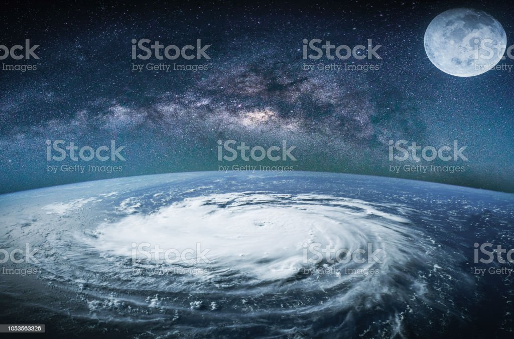 Landscape with Milky way galaxy. Earth view from space with Milky way...
