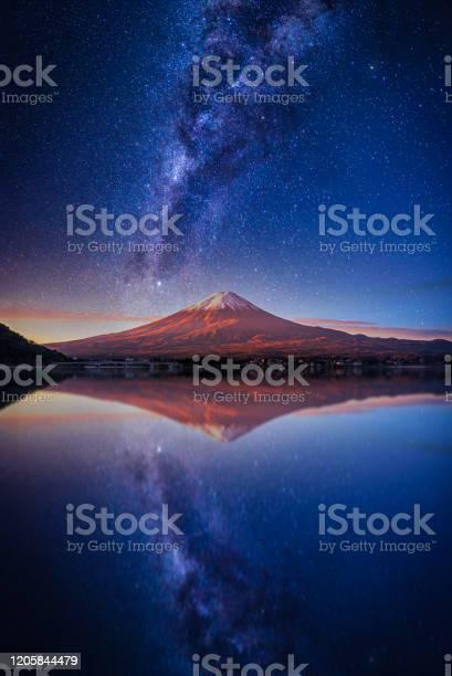 Photo of Landscape with Milky way galaxy. Mt. Fuji over Lake Kawaguchiko with milky way at sunrise in Fujikawaguchiko, Japan.