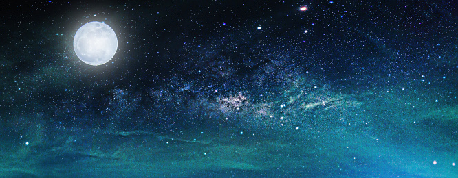 Landscape with Milky way galaxy. Night sky with stars and the full moon. (Elements of this moon image furnished by NASA)