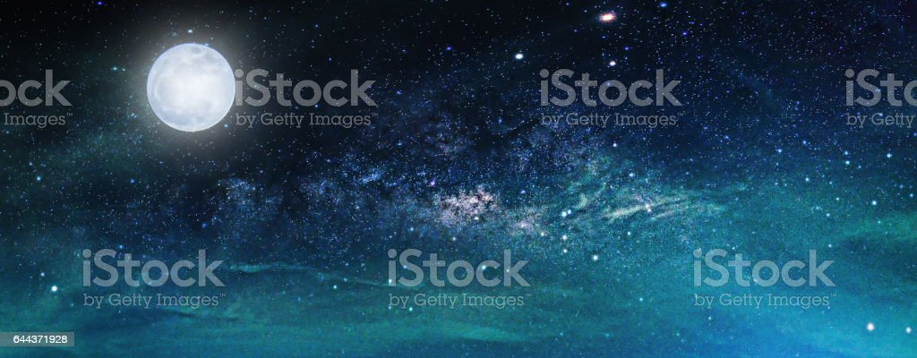 Landscape with Milky way galaxy. Night sky with stars and the full moon. (Elements of this moon image furnished by NASA) – Foto