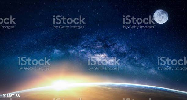 Photo of Landscape with Milky way galaxy. Sunrise and Earth view from space with Milky way galaxy. (Elements of this image furnished by NASA)