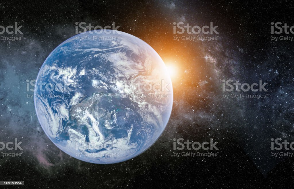 Landscape with Milky way galaxy. Sunrise and Earth view from space...