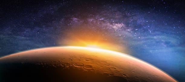 paysage avec la voie lactée. lever du soleil et planète vue depuis l'espace avec la voie lactée. (éléments de cette image fournie par la nasa) - venus photos et images de collection