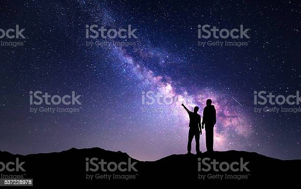 Photo of Landscape with Milky Way. Silhouette of a father and son