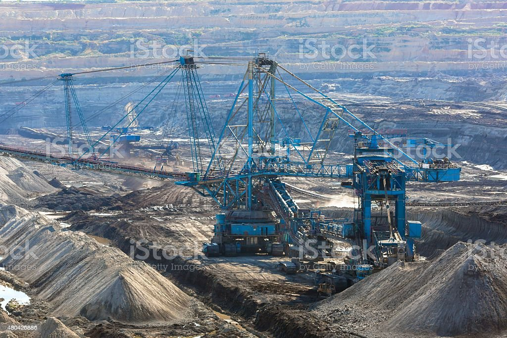 Landscape with mine machine stock photo