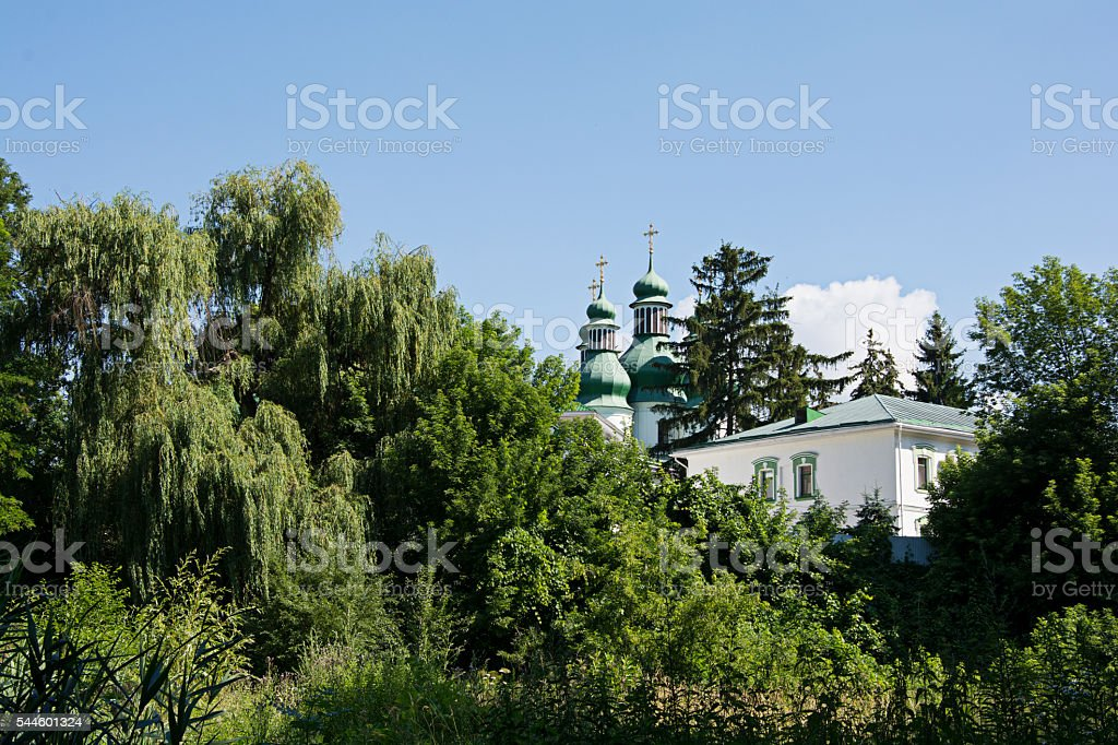 Landscape with monastery. stock photo