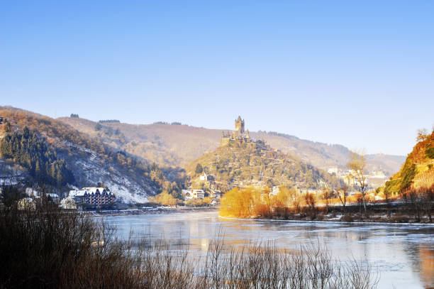 Landscape with Mosel River in Cochem, Germany stock photo