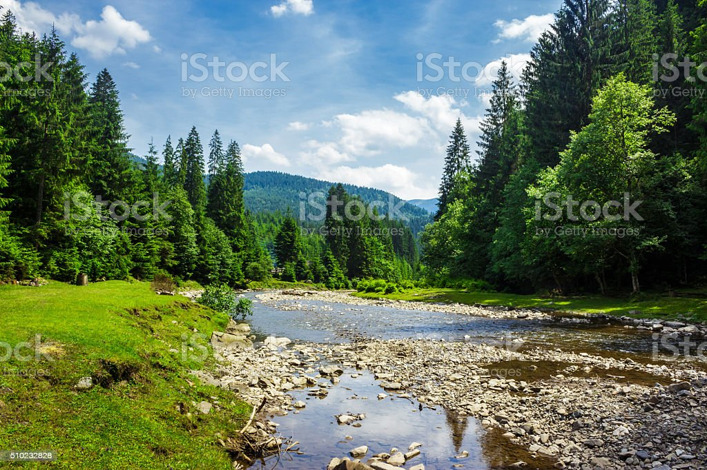 landscape with mountain river stock photo