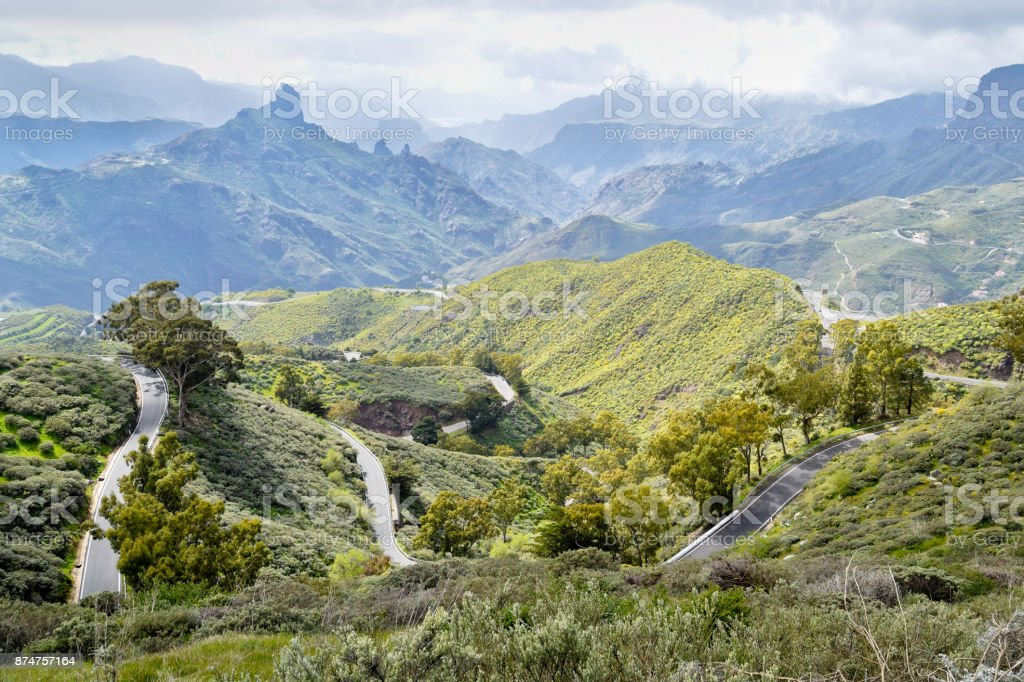 Landscape with Mountain Road in Gran Canaria. Spain. stock photo