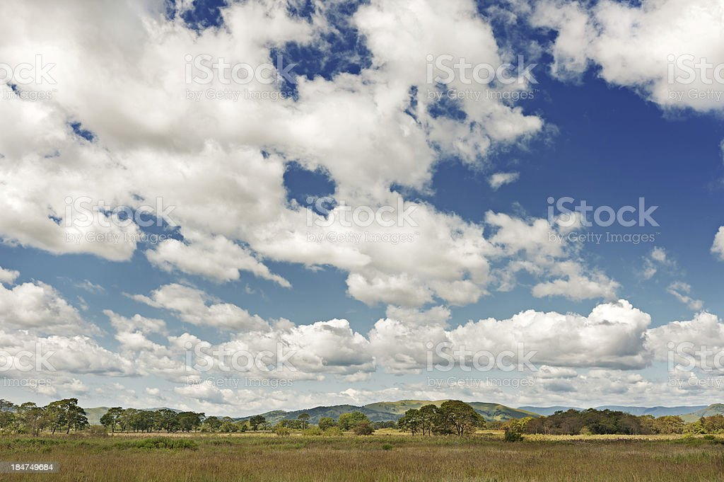 Landscape with mountain views, blue sky and beautiful clouds. royalty-free stock photo