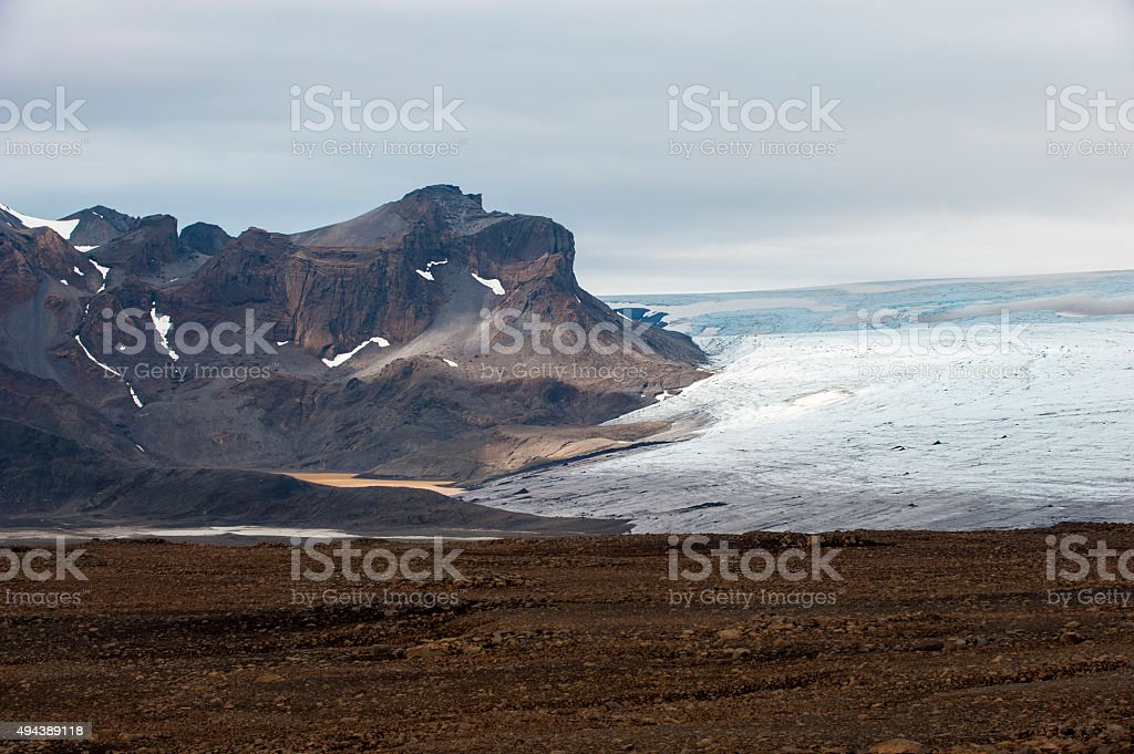 Landscape with mountains and glacier Langjokull, central Iceland stock photo
