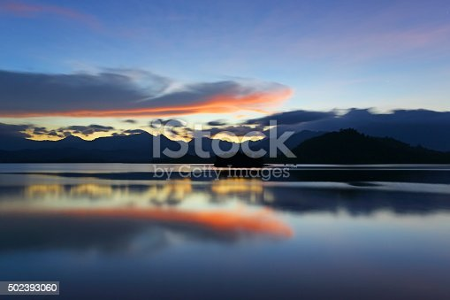 istock Landscape with mountains and lake in twilight 502393060