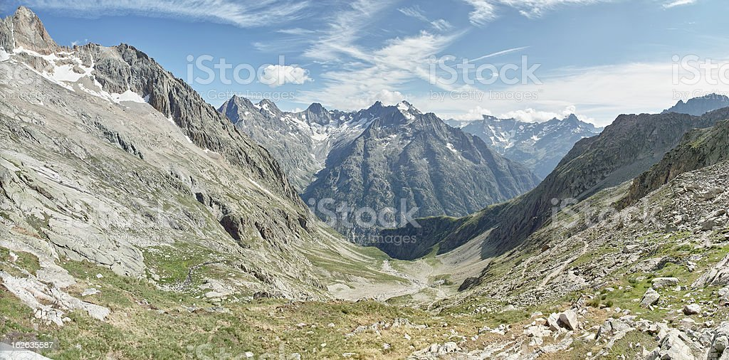 landscape with mountains in Alps Ecrins France stock photo