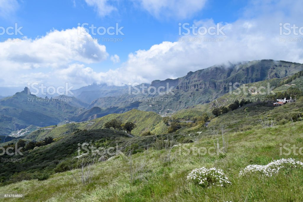 Landscape with Mountains in Gran Canaria. Spain. stock photo