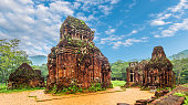 Landscape with My Son Sanctuary complex, ruins of Old hindu temple in Vietnam