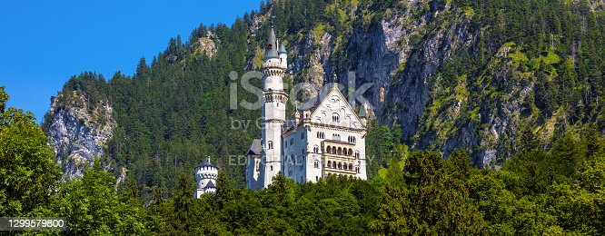 Landscape with Neuschwanstein Castle, Germany, Europe. Panoramic view of fairytale castle in Munich vicinity, famous tourist attraction of Bavarian Alps. Scenery of mountain German landmark in summer. July 23, 2019.
