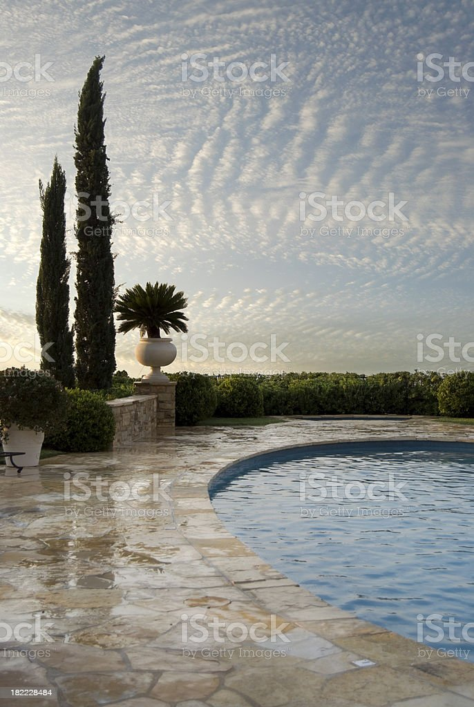 Landscape with oval pool royalty-free stock photo