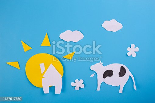 Landscape with Pasturing Cows. cartoon styled
