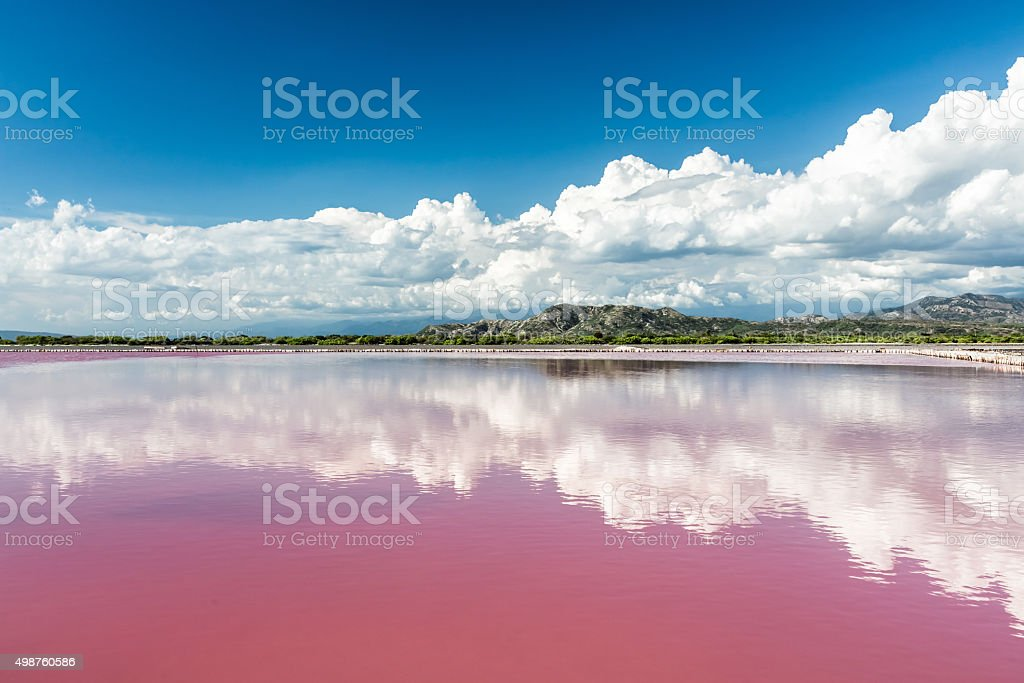 Landscape with Pink water salt lake in Dominican Republic stock photo