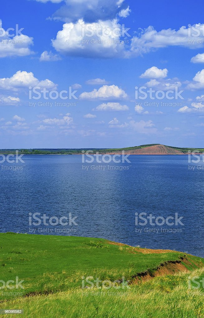 landscape with quiet water of lake - Royalty-free Blue Stock Photo