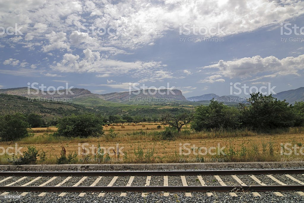 Landscape with railroad in Catalonia at summer royalty-free stock photo