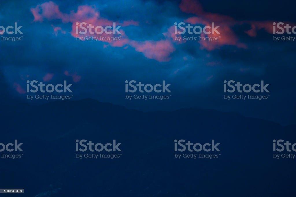 Landscape with rare sunset, stock photo