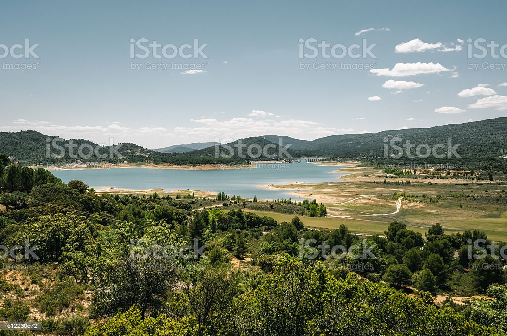 Landscape with reservoir in Spain stock photo