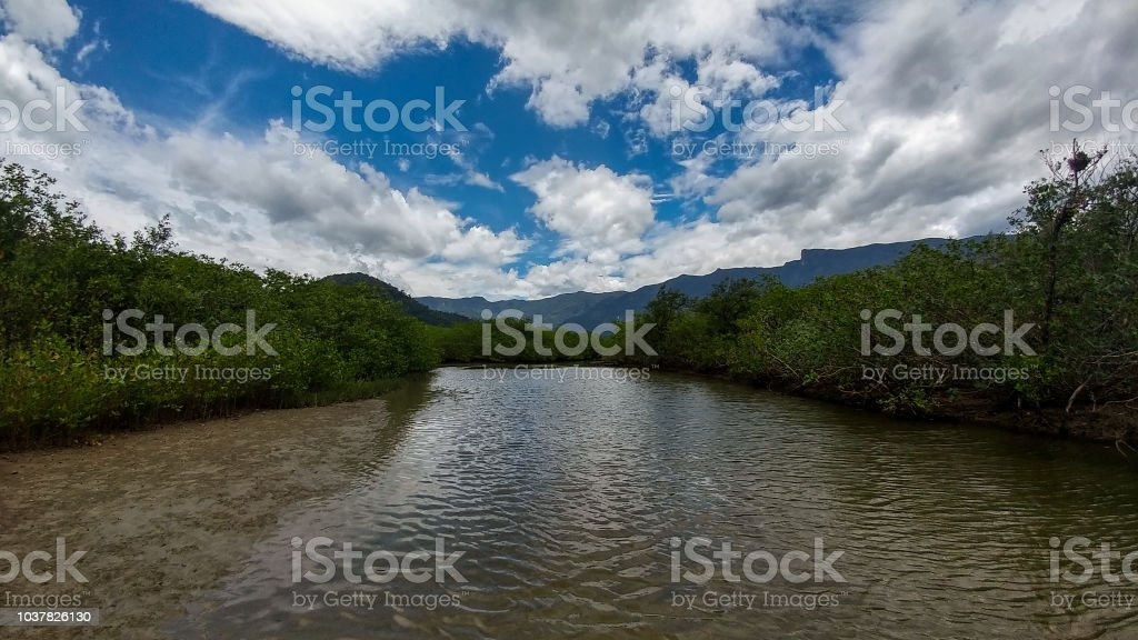 Landscape with river and clouds - Paisagem com rio e nuvens stock photo