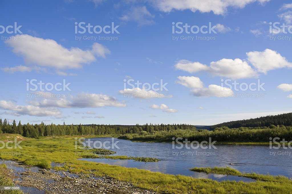 Landscape with river and clouds royalty-free stock photo