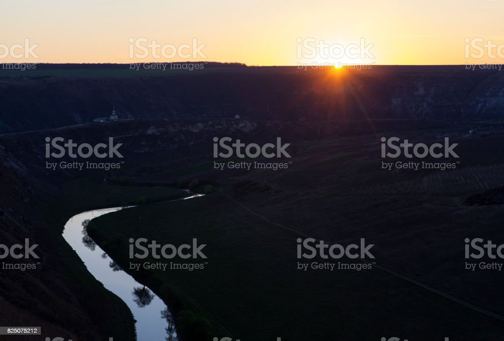 landscape with river in the morning stock photo