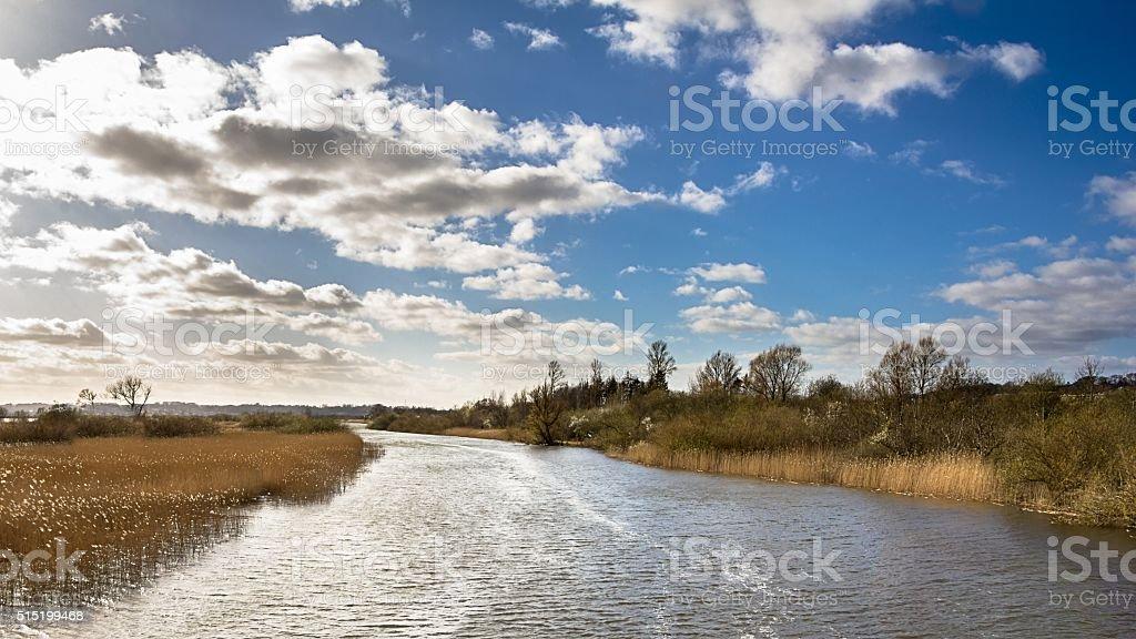 Landscape with river near Randers in Jutland Denmark foto